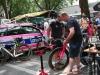 de fietsen van Lampre klaargemaakt