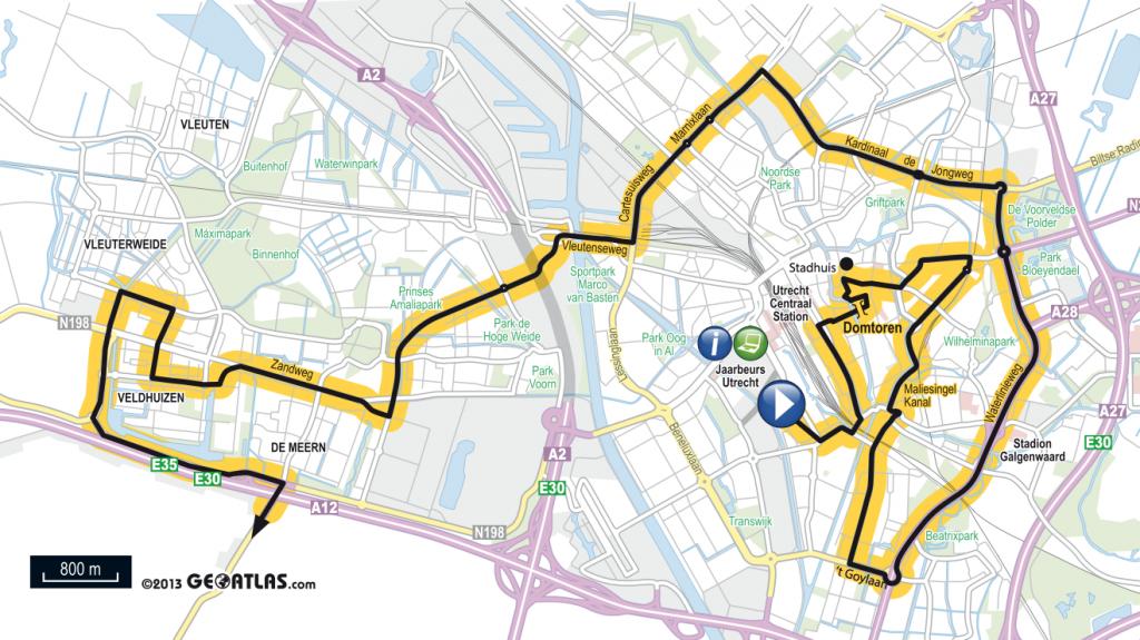 parcours Utrecht van etappe Utrecht-Neeltje Jans